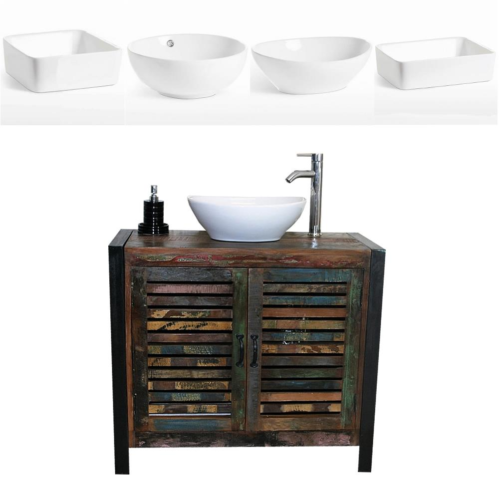 Details about Reclaimed Wood Bathroom Vanity Unit 9 Door with White Ceramic  Basin Choice A