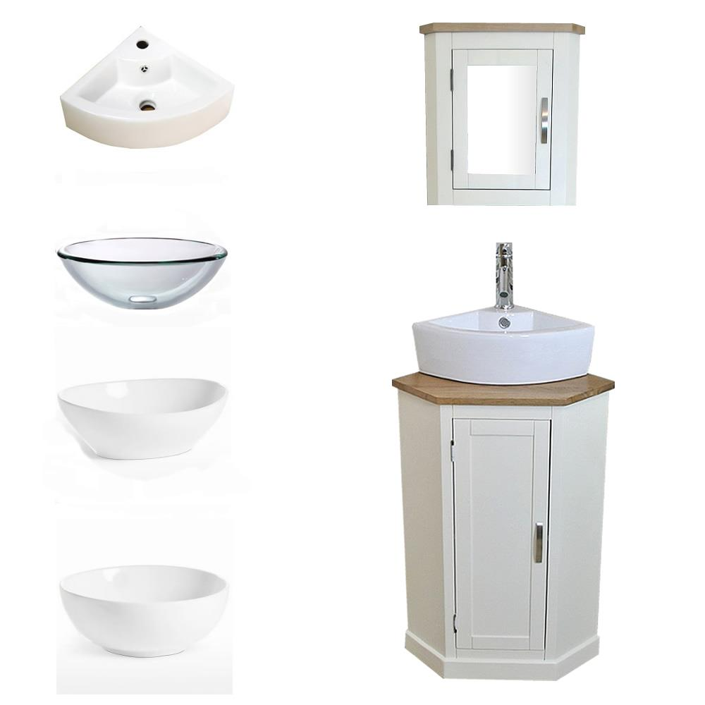 Cloakroom Corner Bathroom Vanity White Cabinet Oak Top Basin Mirror Ebay