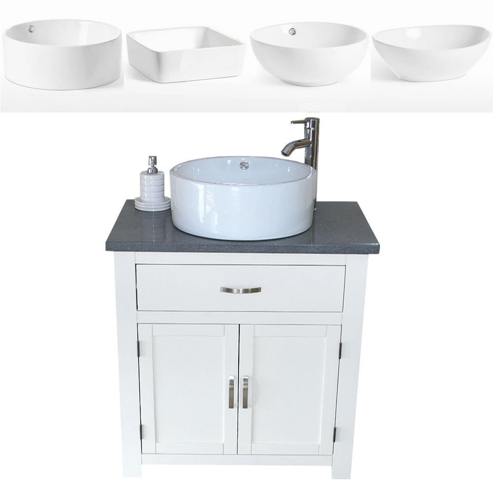 Dettagli su MOBILETTO da bagno | BIANCO VERNICIATO | Quarzo Grigio con  lavabo in ceramica- mostra il titolo originale