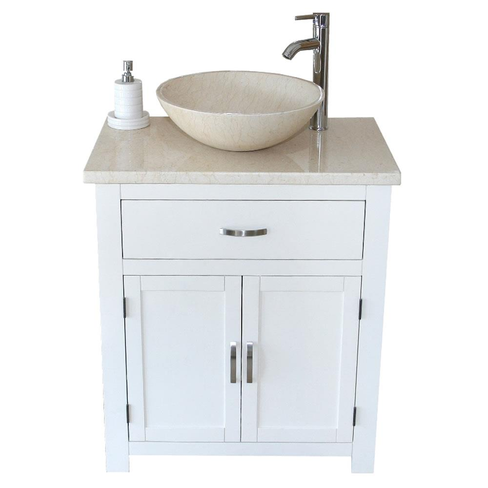 Bathroom Vanity Unit White Painted Cabinet Cream Marble Top Basin Ebay