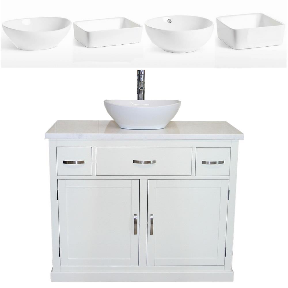MOBILETTO da bagno | Lavaggio Bianco Stand Marmo Bianco & bacino di  ceramica | eBay