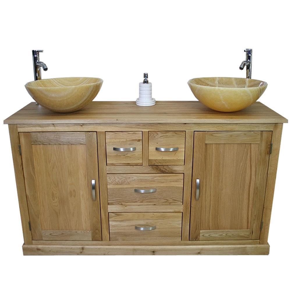 Oak Bathroom Vanity Unit Cabinet Double Twin His Hers Golden Onyx Basins 603 Ebay