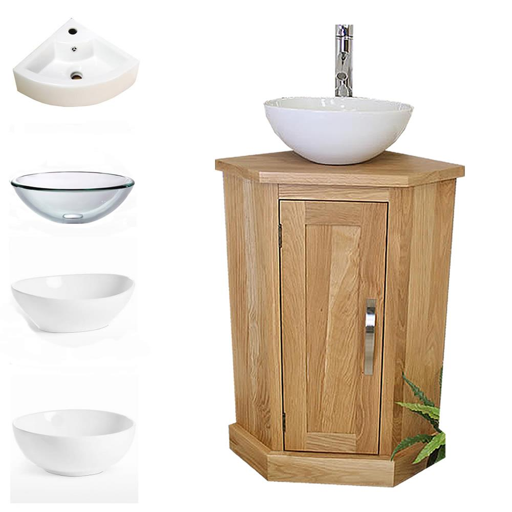 Solid Oak Bathroom Cabinet Cloakroom Corner Vanity Sink Bathroom Furniture A Ebay