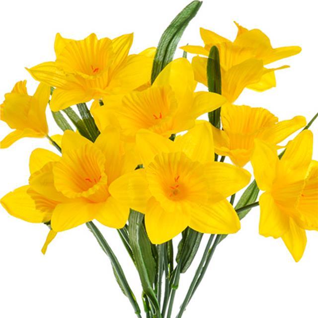 Artificial Silk Yellow Daffodil Bush Decorative Easter