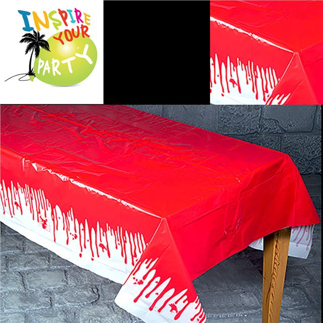 Large Halloween Printed Plastic Table Cloth Dripping Blood Cover