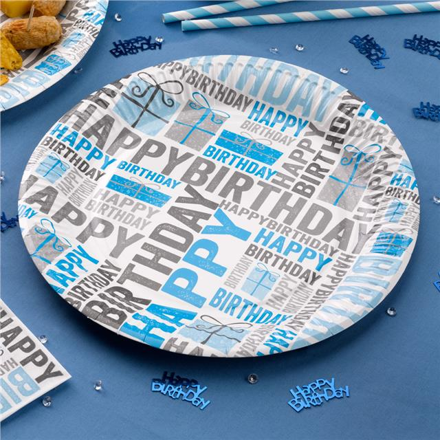 Blue-Happy-Birthday-Tableware-Party-Set-Cups-Banner-  sc 1 st  eBay & Blue Happy Birthday Tableware - Party Set - Cups Banner Napkins ...