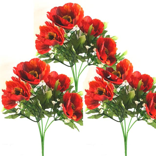 Pack of 3 artificial poppy bush red 28cm decorative summer poppies similar items mightylinksfo