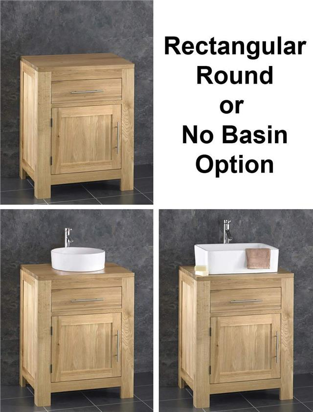 Solid Oak Bathroom Wide Vanity Furniture Unit Sink Cabinet