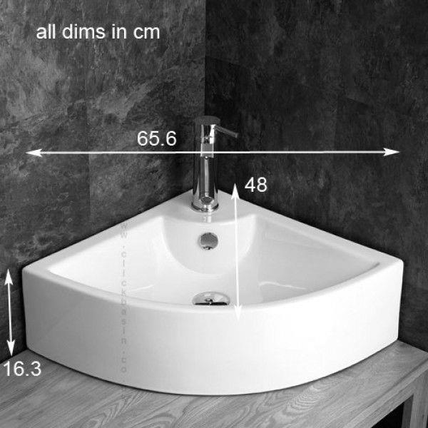 65cm Wide Corner Basin Countertop Counter Mounted White