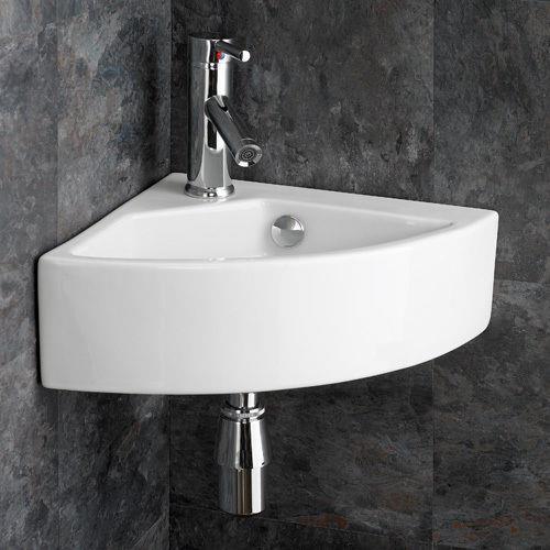 Wall Mounted 50cm Wide White Ceramic Corner Bathroom Wash Basin ...
