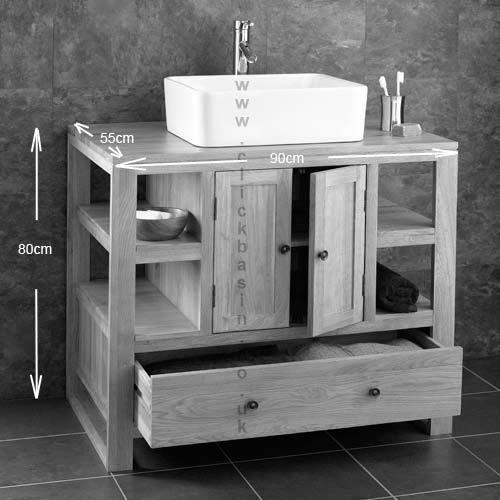 X Solid Oak Two Door Bathroom Basin Cabinet Vanity Sink