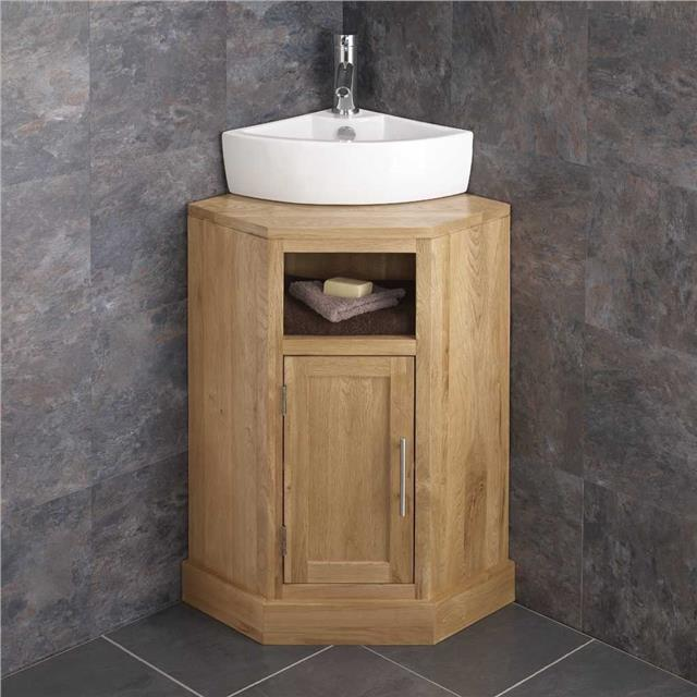 Cloakroom Sized Solid Oak Corner Bathroom Cabinet 57cm Freestanding Basin Uni