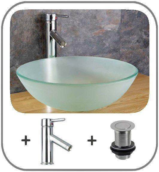 42cm round wall mounted glass basin cloakroom basin stainless shelf towel rail - Glass cloakroom basin ...