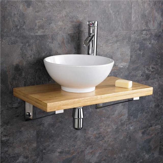 sink shelf bathroom wall mounted wooden shelf white ceramic rectangular sink 14439