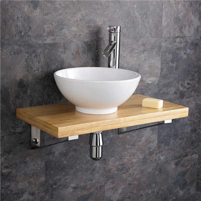 32cm Ceramic Round Bathroom Sink 60cm Wood Shelf Wall Hung