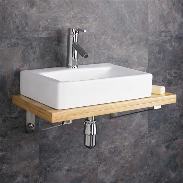 Wall Mounted Wooden Shelf White Ceramic Rectangular Sink