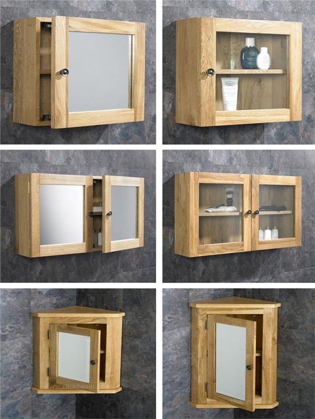 Solid oak wall mounted corner and square bathroom storage - Bathroom storage mirrored cabinet ...
