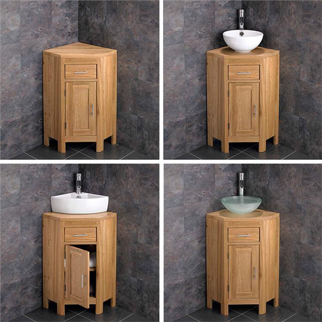 Oak Corner Vanity Unit Cloakroom, Corner Cloakroom Vanity Unit Uk