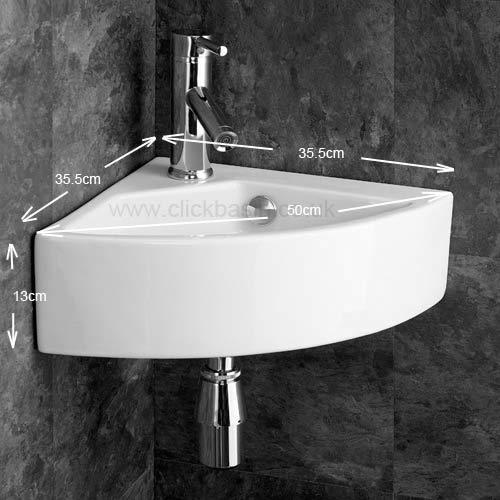 Wall mounted corner washbasin sink 50cm wide with mixer for Bathroom cabinets 50cm wide