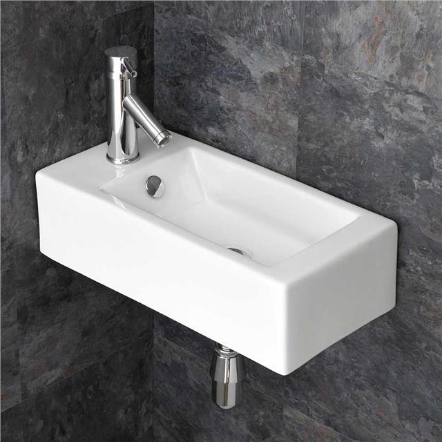 Large Corner Sink Bathroom Basin 65.6cm Wide Wall Hung White Ceramic Handbasin 5060472881779
