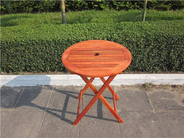 HARDWOOD WOODEN FOLDING ROUND GARDEN PATIO TABLE FOLDING