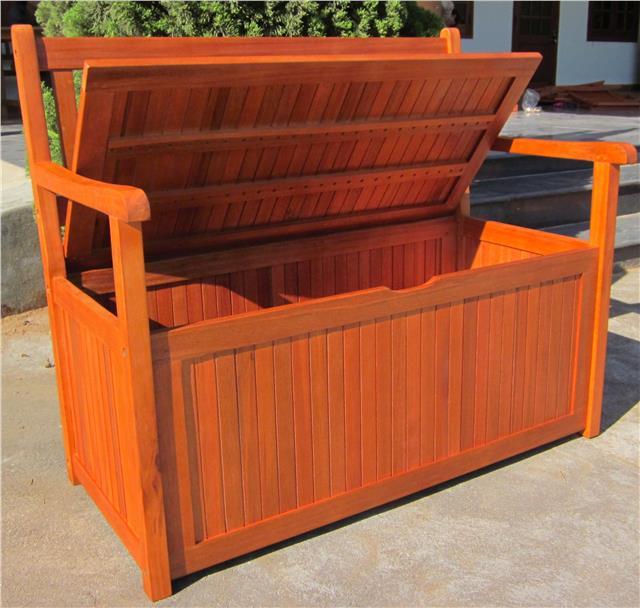 Hardwood Wooden Garden Storage Bench 2 And 3 Seater Wood