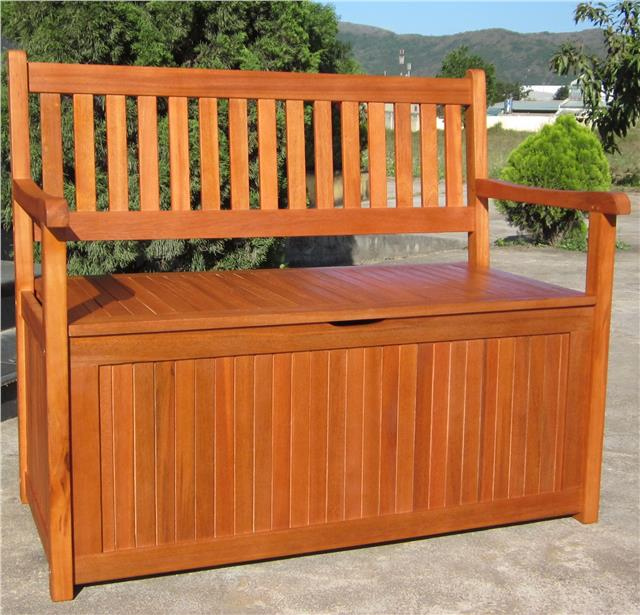 Wooden Patio Bench ~ Hardwood wooden garden storage bench and seater wood