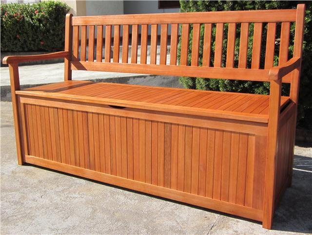 HARDWOOD WOODEN GARDEN STORAGE BENCH 2 AND 3 SEATER WOOD ...