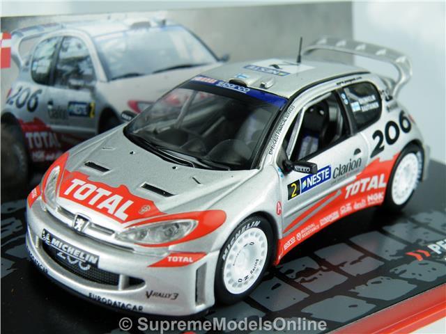 PEUGEOT 206 WRC RALLY CAR MODEL GRONHOLM 1/43RD SILVER COLOUR ...