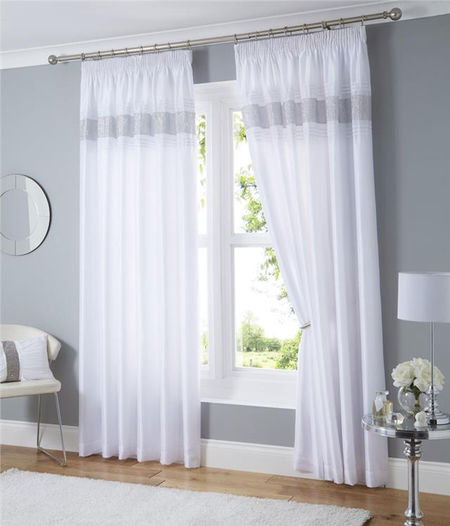 Charming PENCIL PLEAT LINED CURTAINS WHITE BLACK OR SILVER