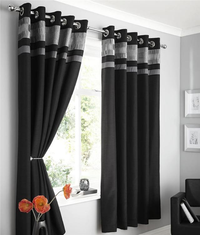Modern Faux Silk Lined Curtains Plum Brown Black Or