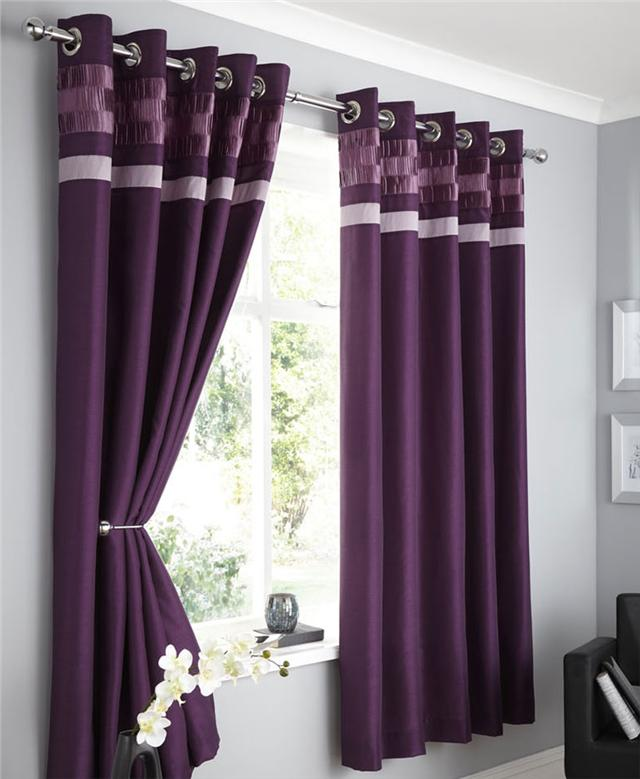 ... FAUX-SILK-LINED-CURTAINS-PLUM-BROWN-BLACK-OR-CHARCOAL-EYELET-CURTAINS
