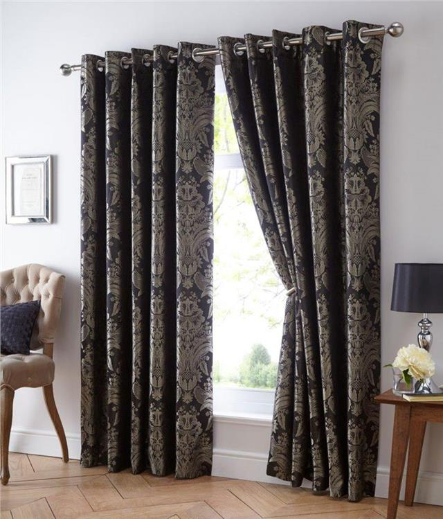 eyelet style lined curtains blue gold gold black