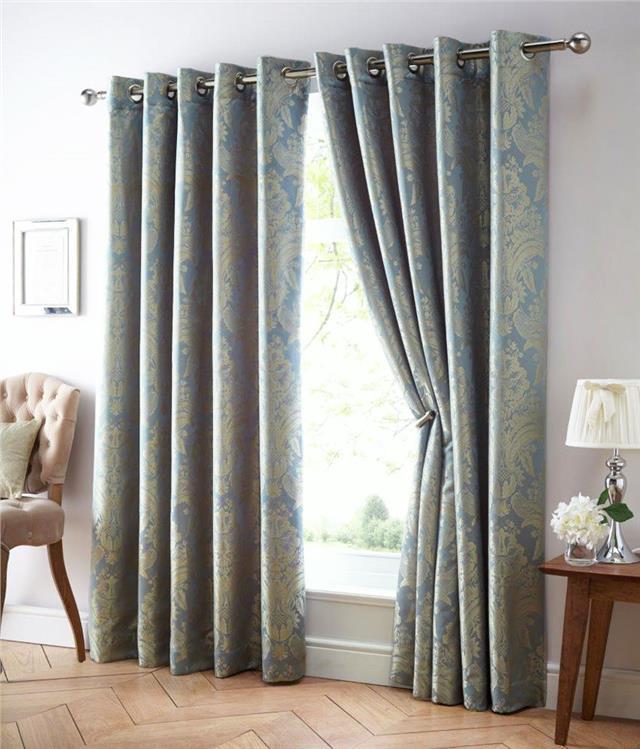 eyelet style lined curtains blue gold gold black. Black Bedroom Furniture Sets. Home Design Ideas