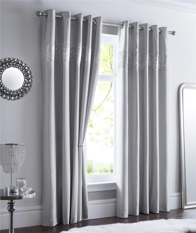 White Curtains With Silver Sequins