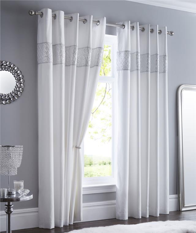 LINED CURTAINS EYELET Luxury Silver Shimmer Diamante Trim