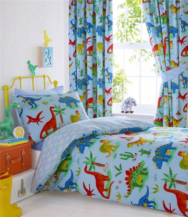 Dinosaur Duvet Sets Boys Blue Bedding, Bedding Sets With Curtains