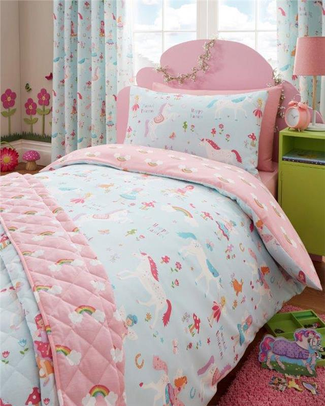 Magical Unicorns Fairies Girls Reversible Duvet Quilt Cover