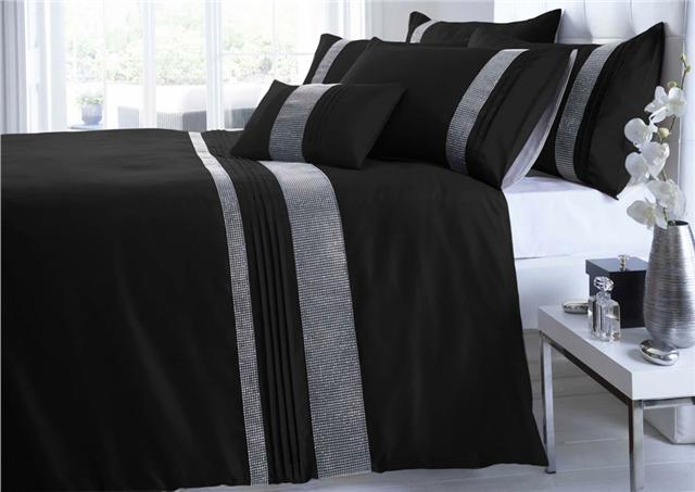 Bedroom Curtains black bedroom curtains : SILVER GREY BLACK WHITE DIAMANTE DUVET SETS / CURTAINS / THROWS ...