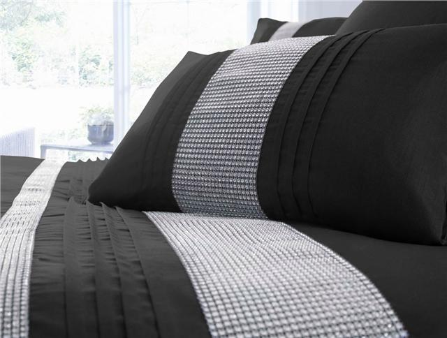 NEW LUXURY DIAMANTE BEDDING - DUVET COVER BED SETS  - LINED EYELET CURTAINS
