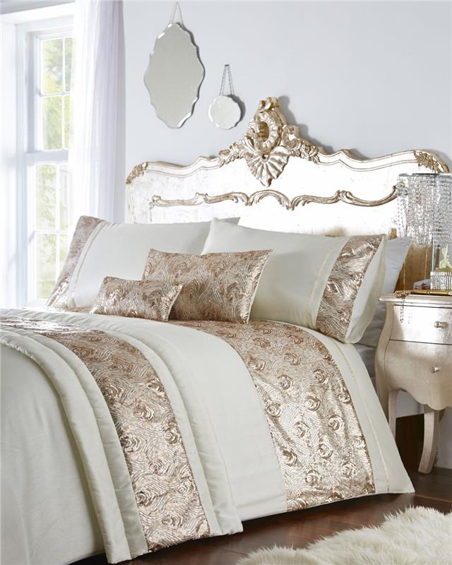 Luxury Bed Sets With Rose Gold Or, Luxury Cream And Gold Bedding