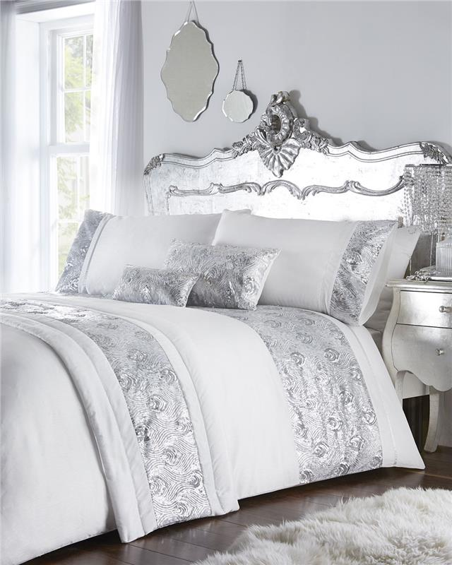 Luxury Bed Sets With Rose Gold Or Silver Sequins Duvet