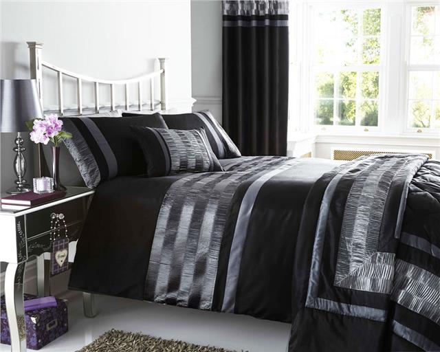 New Pintuck Duvet Cover Sets Cushions Matching Lined Eyelet Curtains Throws Ebay