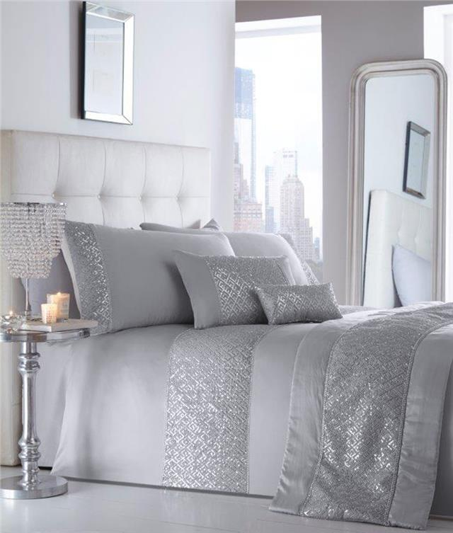 Grey Double Bed Covers : Double duvet set new silver grey sequin diamante luxury