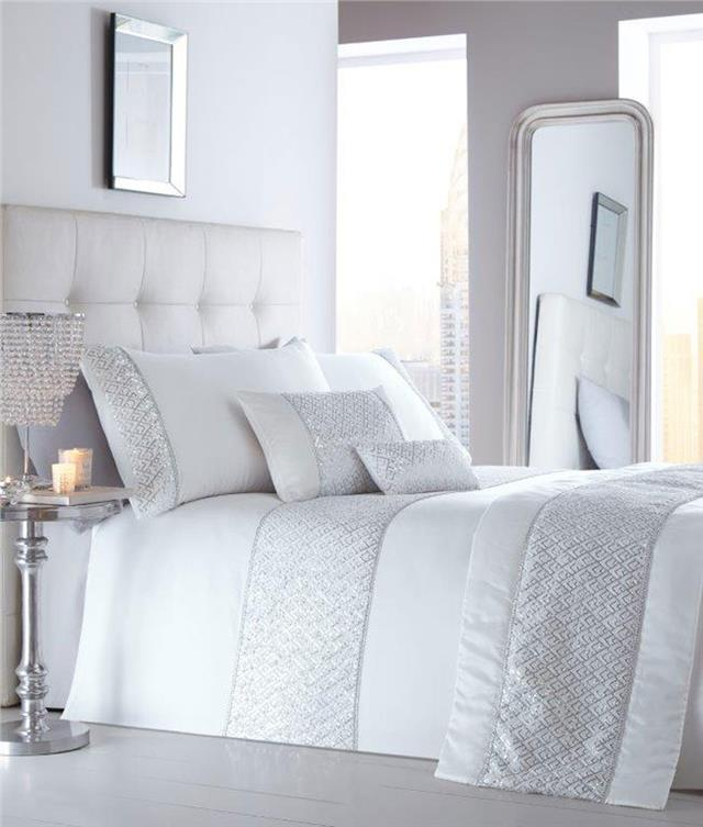 Luxury Duvet Cover Sets White Or Grey Diamante Silver Sequin Bedding