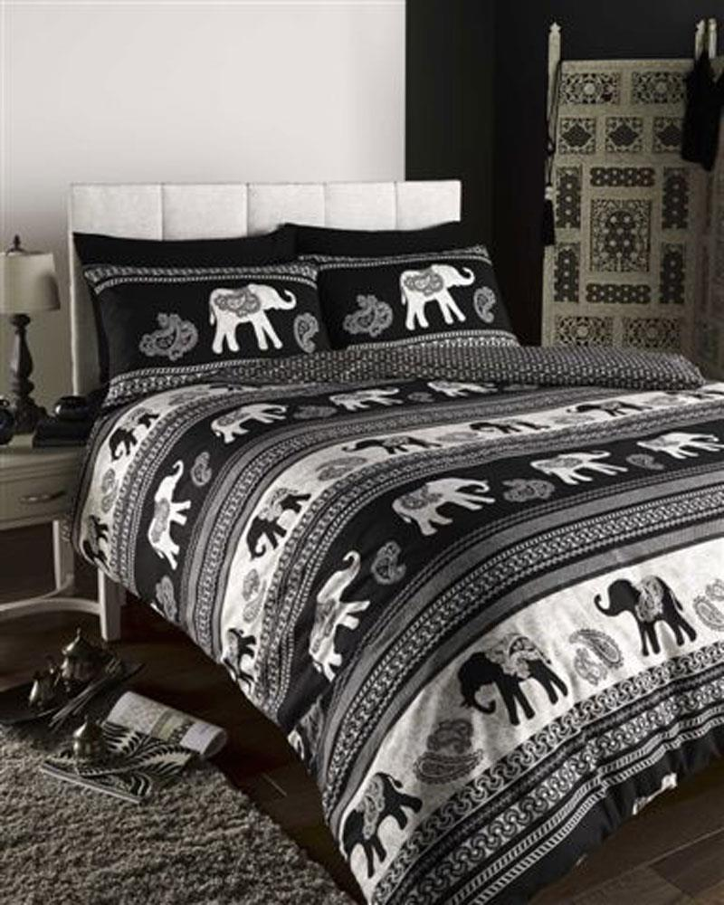 Duvet Cover Sets Indian Elephant Striped Bedding In Black Or