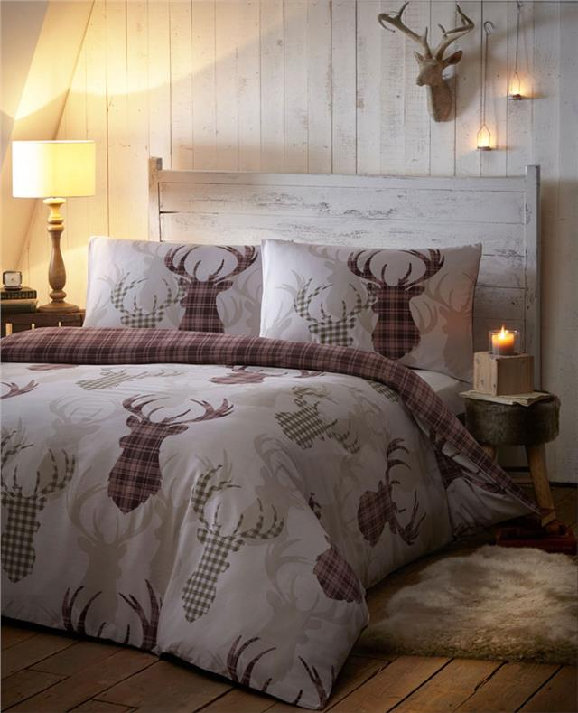 Duvet Sets Tartan Stag Reversible Bedding Checked Quilt