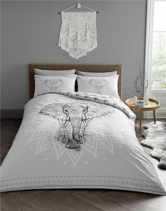 Grey Moroccan Elephant King Size Bedding Set Duvet Quilt Cover With Pillowcases