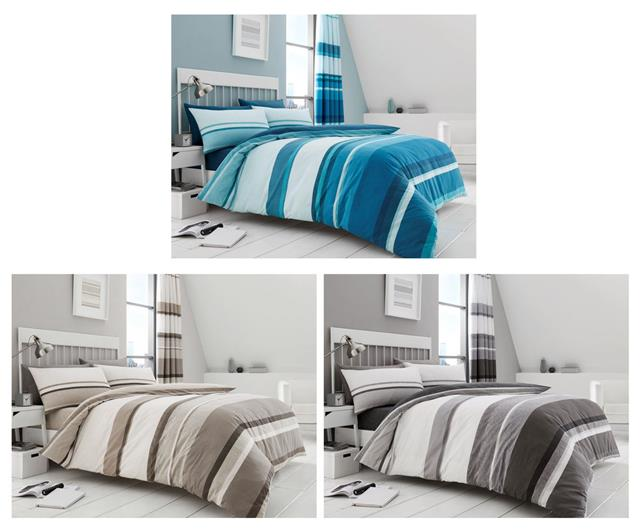 Stripe Duvet Cover Bed Sets In Taupe, Teal And Gray Queen Bedding
