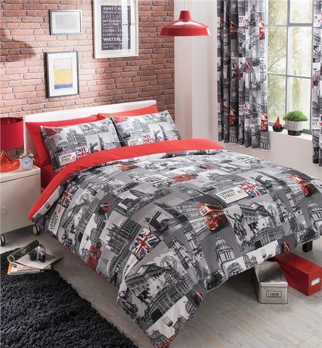 City Duvet Cover Bed Sets Red London, City Bedding Sets
